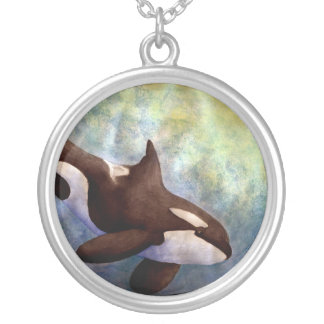 Watercolor Orca Silver Plated Necklace