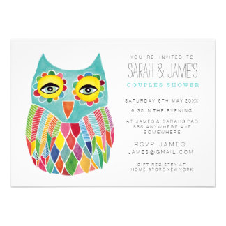 Watercolor Owl Couples Shower Party Invite