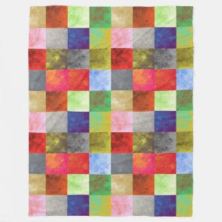 Watercolor Paint Squares Pattern Fleece Blanket