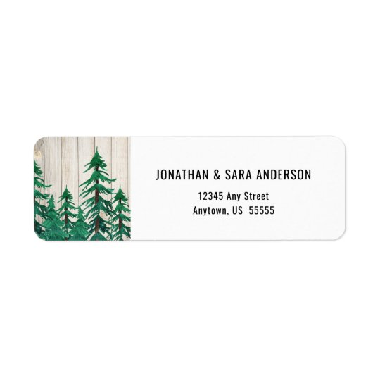 Watercolor Painted Trees on Rustic Background Return Address Label