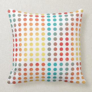 Watercolor Painting Polka Dots Rainbow Circle Throw Cushion