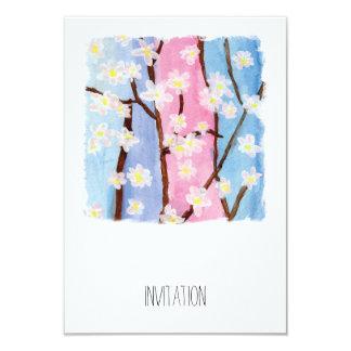 Watercolor Painting Sakura Flowers Card
