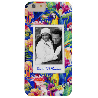 Watercolor Parrots | Add Your Photo & Name Barely There iPhone 6 Plus Case