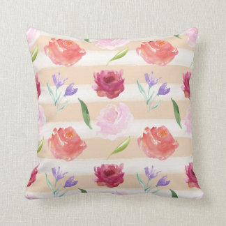 Watercolor Peach Stripes with Flowers Throw Pillow