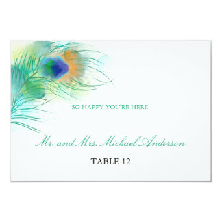 Watercolor Peacock Feather | Seating Card