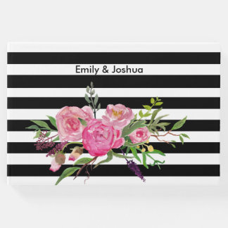 Watercolor Peonies and Stripes Wedding Guest Book