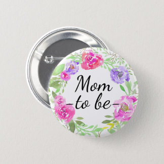 Watercolor Peony Pink Floral Mum to Be Baby Shower 6 Cm Round Badge
