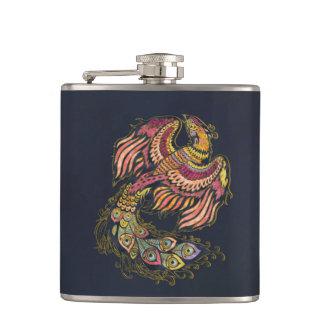 Watercolor Phoenix bird Hip Flask