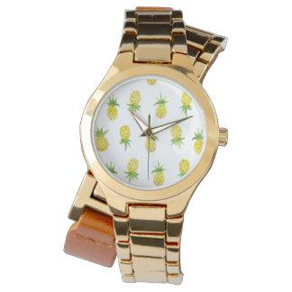 Watercolor Pineapple Pattern Wrap Watch