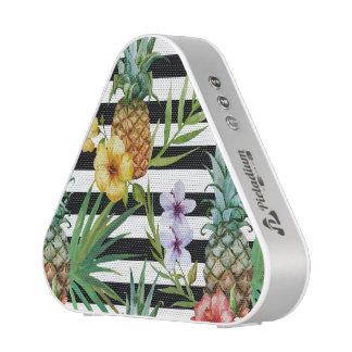Watercolor pineapple tropical flower black stripes