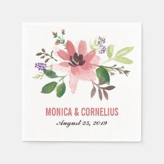 Watercolor Pink Flower Burst   Wedding Reception Disposable Napkins