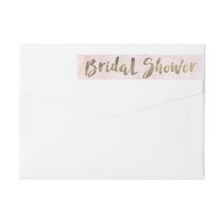 Watercolor Pink Gold Bridal Shower Wraparound Return Address Label
