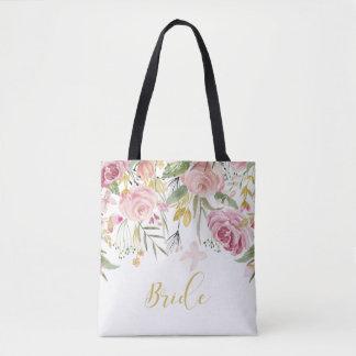 Watercolor Pink Gold Roses Greenery Bride Tote