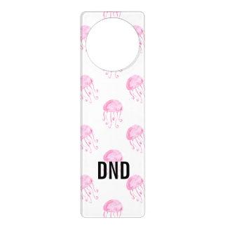 watercolor pink jellyfish beach design door hanger