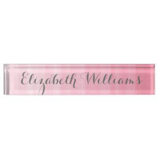 Watercolor Pink Ombre Feminine Monogram Name Name Plate