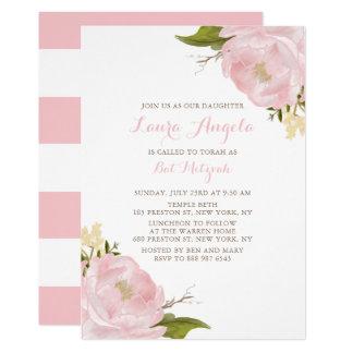 Watercolor Pink Peonies Bat Mitzvah Invitation
