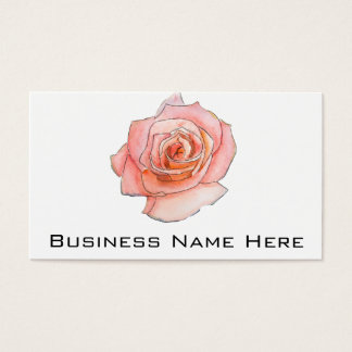 Watercolor Pink Rose Painting Business Card