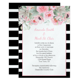 Watercolor Pink Spring Flowers Stripes Invitations