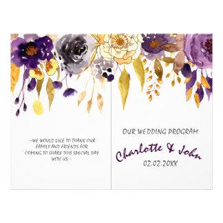 Watercolor Plum Purple Floral Wedding programs 21.5 Cm X 28 Cm Flyer