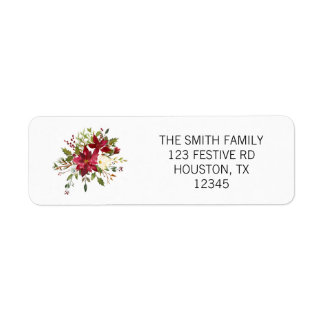 Watercolor Poinsettia Return Address Label