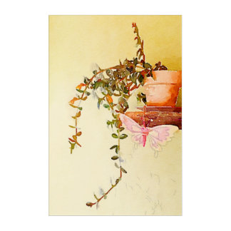 Watercolor Potted Plant and Butterfly Acrylic Wall Art