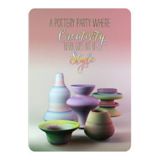 Watercolor Pottery Creativity Never Goes Out Style 13 Cm X 18 Cm Invitation Card