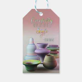 Watercolor Pottery Creativity Never Goes Out Style Gift Tags