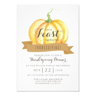 Watercolor Pumpkin | Thanksgiving Feast 13 Cm X 18 Cm Invitation Card