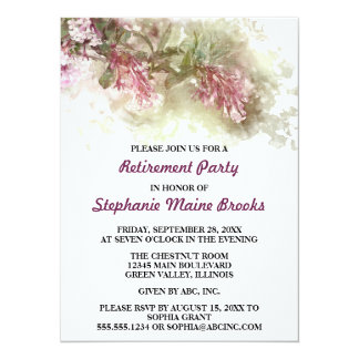 Watercolor Purple Jasmine Retirement Party Card