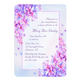 Watercolor Purple Lilac Flower Bridal Shower Card