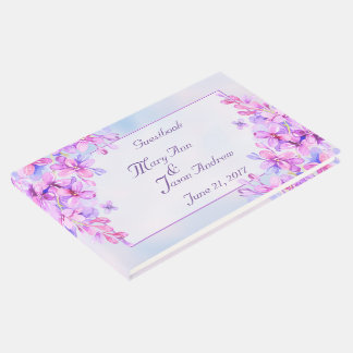 Watercolor Purple Lilac Flower Guestbook