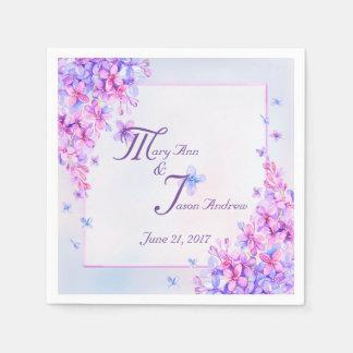 Watercolor Purple Lilac Flower Paper Napkins