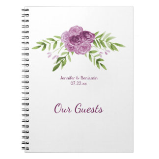 Watercolor Purple Roses Greenery Guest Book Notebook