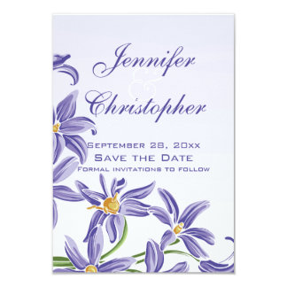 Watercolor Purple Spring Flowers Save the Date Card