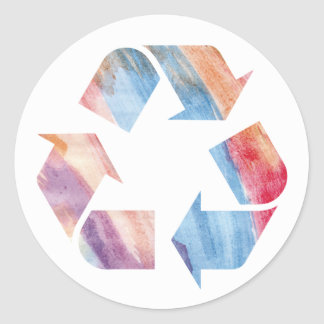 Watercolor Rainbow Recycle Sticker ls