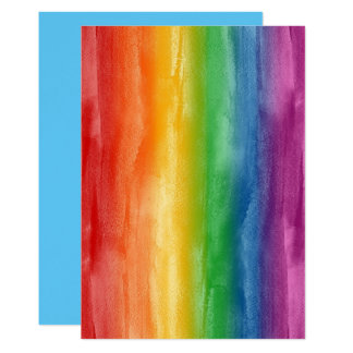 Watercolor Rainbow Stripes Card