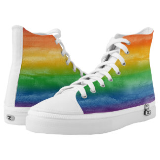 Watercolor Rainbow Stripes Printed Shoes
