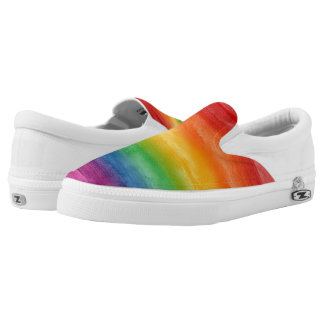 Watercolor Rainbow Stripes Slip On Shoes