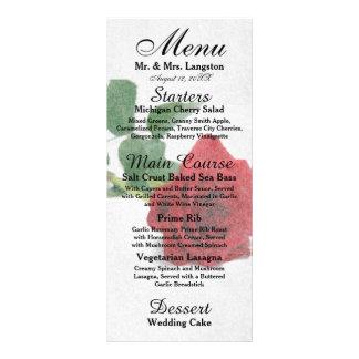 Watercolor Red Roses - Reception Menu Rack Card