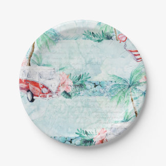 Watercolor Retro Beach Themed Party Plates 7 Inch Paper Plate