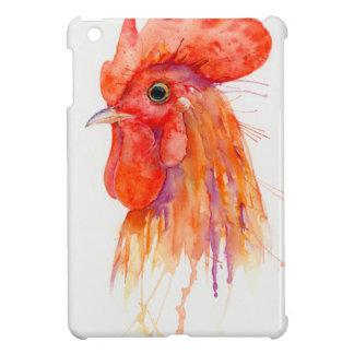 Watercolor Rooster Portrait Golden iPad Mini Covers
