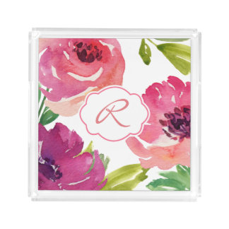 Watercolor Rose Floral Monogram Acrylic Tray