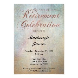Watercolor Rose Gold Retirement Party Invitation