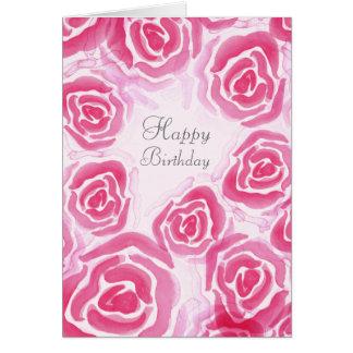 Watercolor Roses Blank Greeting Card