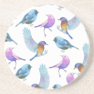 Watercolor Safari: Birds (Customize BG Color!) Drink Coaster