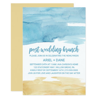 Watercolor Sand and Sea Post Wedding Brunch Card
