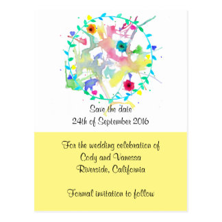 Watercolor Save the Date Customizable Postcard