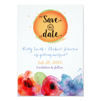 Watercolor Save The Date Floral Summer Invitation