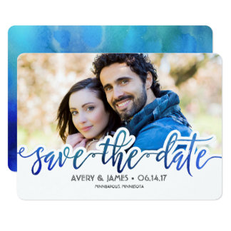Watercolor Save the Date Photo Card