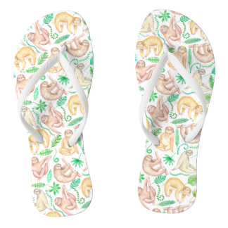 Watercolor Sloth Pattern Jandals